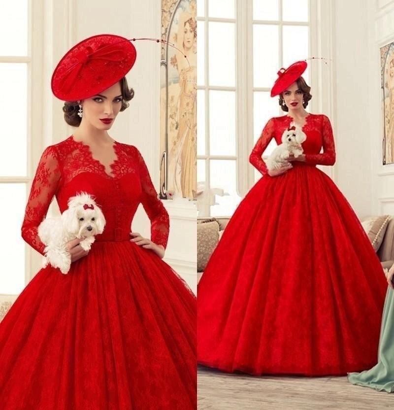 vestido de novia vintage Victorian Gothic Vintage Red Long Sleeve Lace Wedding Dress Red Ball Gown V Neck Princess Wedding Gowns