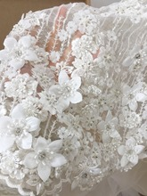 1 Yard Super Luxury Rhinestone Pearl Beaded 3D Flower Lace Fabric by Yard, Couture for Bridal Gown Haute Off White