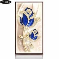 PSHINY 5D DIY Diamond Embroidery Sale Sapphire Golden Rose Home Decor Full Square Rhinestone Flower Diamond