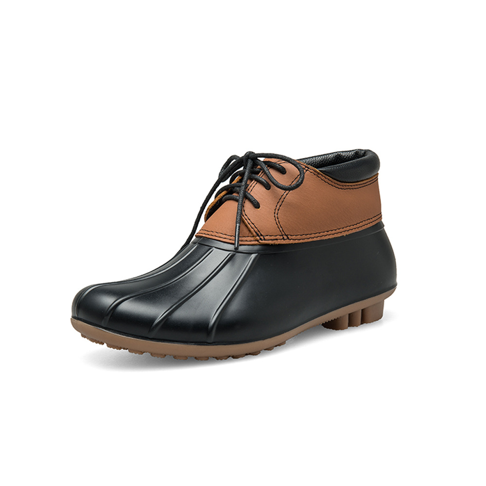 SWYIVY en cuir véritable caoutchouc canard bottes de pluie Shose femme 2018 automne nouveau confortable femme chaussures décontractées imperméables bottes de pluie