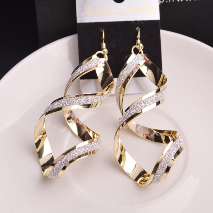 Spiral-Earrings Statement Jewelry Dangle Metal Silver Gold-Color Women Fashion Oorbellen