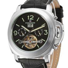 מותג יוקרה FORSINING תאריך אוטומטי Tourbillon זכר שעון מכאני שעון שעון צמיד רצועת עור מעצב שעונים לגברים