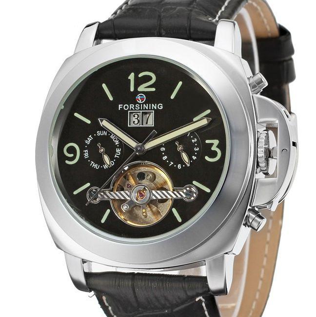 Prix pour Marque de luxe forsining auto date tourbillon mécanique montre homme horloge designer montres hommes bracelet en cuir bracelet montre