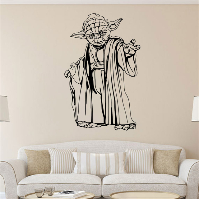 Star war jedi master yoda carved wall stickers original zooyoo creative art home decorations bedroom background