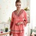 Novas mulheres chegada 100% pijama de algodão primavera outono sleepwear 2 peça define As Mulheres do pijama roupa Em Casa e roupas de salão