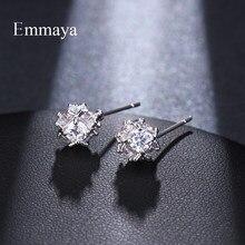 Emmaya – petite boucle d'oreille irrégulière populaire en cristal blanc, solide AAA CZ, bijoux pour femmes et filles, cadeau de fête de mariage