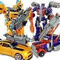 Nueva llegada transformación optimus prime robot car toys bumble bee niños regalo de navidad