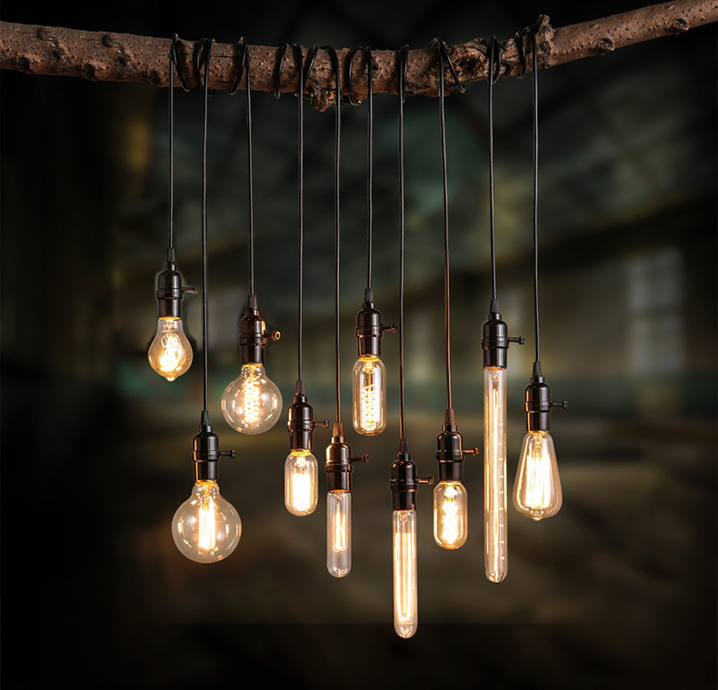 Loft Coffee Shop Art Edison Bulb Light Fixture Creative Personality Vintage Pendant Light Bar Art Deco Lighting Edison Lamp