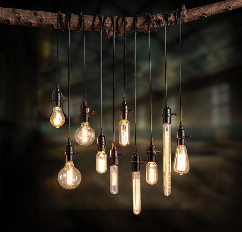 Loft Coffee Shop Art Edison Bulb Light Fixture Creative Personality Vintage Pendant Light Bar Art Deco Lighting Edison Lamp loft vintage edison glass light ceiling lamp cafe dining bar club aisle t300