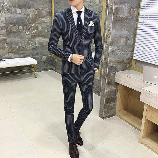 Online Shop Mens Striped Suit 2018 Fall Winter Wedding Groom Suit ...
