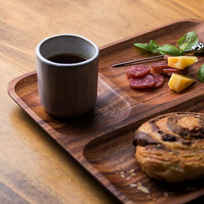 Placas de jantar de madeira maciça combinação conjuntos de louça pratos de madeira prato comida rápida toda peça bandeja de serviço de madeira - 3