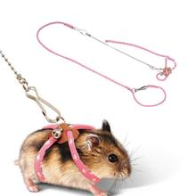 Adjustable Twisted Cotton rope Traveling Hamster Traction Rope Leash Collar for Guinea Pig Pets Training