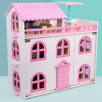 DIY Miniature Doll House Furniture sets 3D Wooden Miniaturas Dollhouse Toys for Children Birthday Gifts 46cm