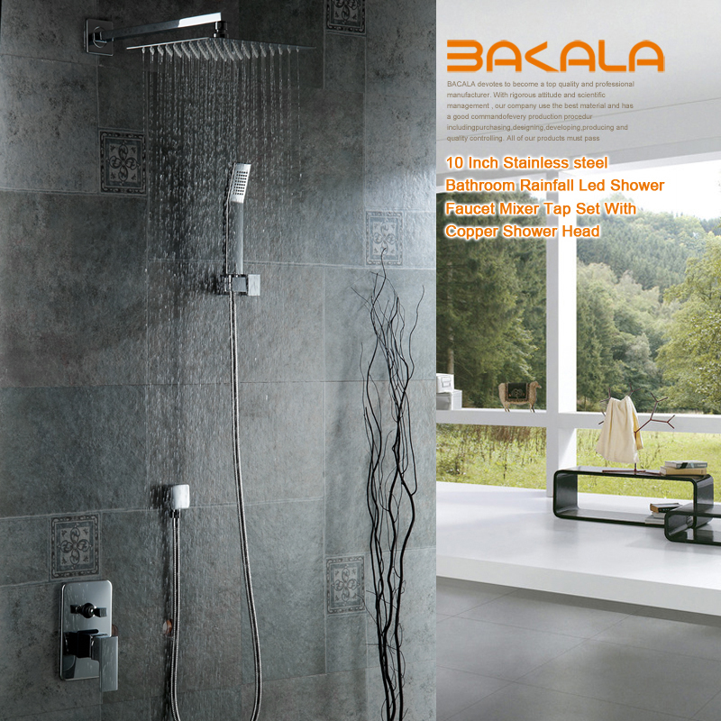 BAKALA Bathroom Luxury Rain Mixer Shower Combo Set Wall Mounted Rainfall Shower Head System Polished Chrome sognare new wall mounted bathroom bath shower faucet with handheld shower head chrome finish shower faucet set mixer tap d5205