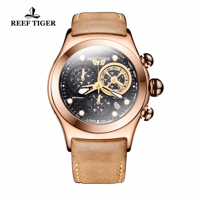 2018 Reef Tiger/RT Luxury Rose Gold Watches for Men Genuine Leather Strap Skeleton Watches Chronograph RGA782