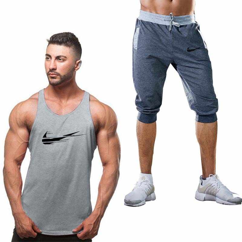 c9bafd026b35 2019 New Men s Sport Suits Running sleeveless Tank Top + Shorts Men Sports  Joggers Training Suit