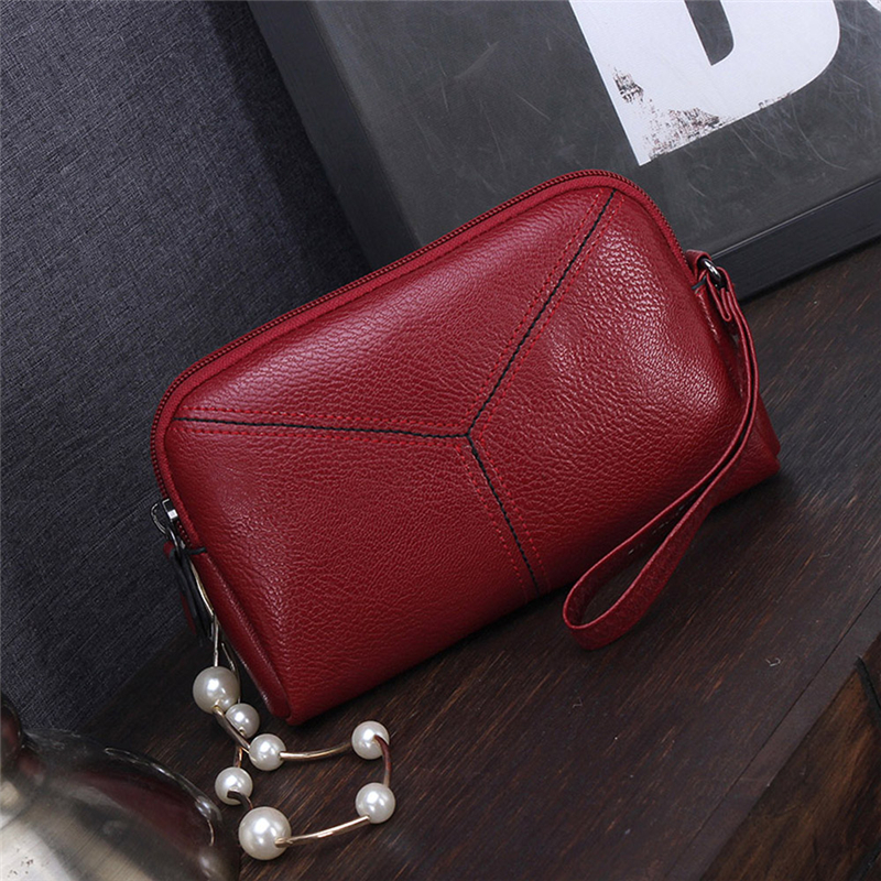 Duopindun Billetera Mujer New Women Long Purse Leather Wallet Phone Bag Zipper Closure Card Holder Clutch Solid Design High