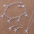 Lindo de La Joyería de Plata Starfish Necklace & Bracelet & Earring Set For Women AT080-082