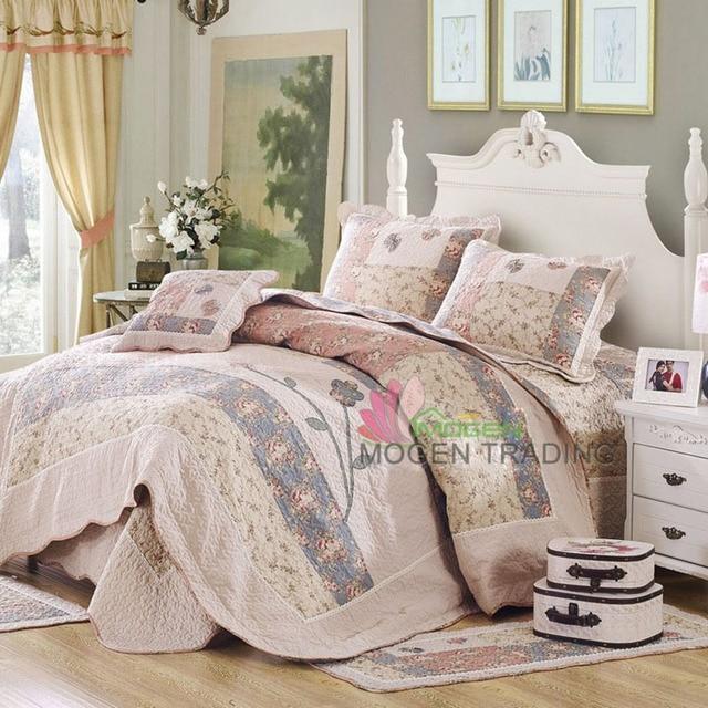 CHAUSUB Korea Patchwork Quilt Set 4PC Coverlet Handmade Bedspread ... : bed sheet quilt set - Adamdwight.com