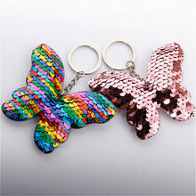 1pcs Colour Plush Keychain Pendant Key Buckle Butterfly Keyboard Reflective Butterfly Knot Keychain(China)