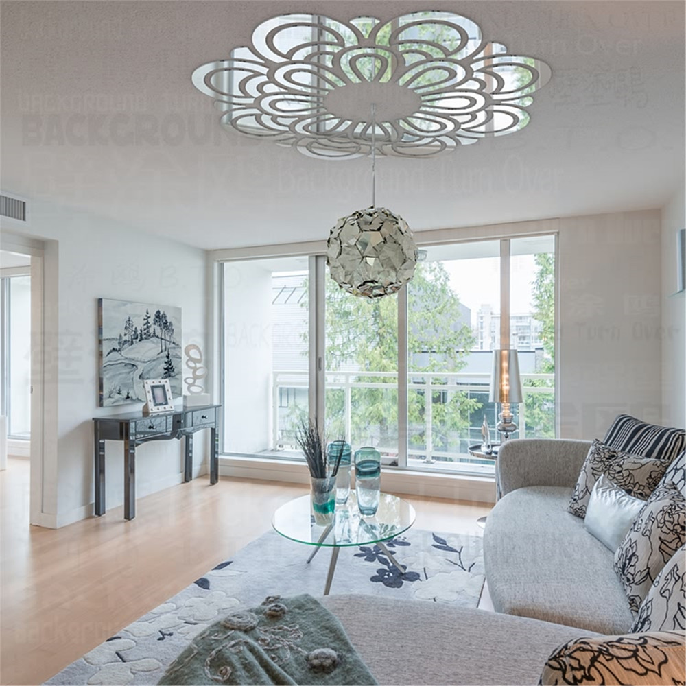 64pcs/set Graceful Blossom Pattern 3d Acrylic Flower Reflective Ceiling Stickers Mirror Living Room Bedroom Decoration R070