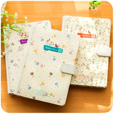 Hardcover Vintage Notebook A5 Personal Diary Book With Magnetic Button,Beautiful Flowers Cute Notebooks And Journals 365 day thick hardcover personal diary
