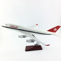 FREE SHIPPING 45 47CM 747 SWISSAIR LIVERY METAL BASE AND RESIN MODEL PLANE AIRCRAFT MODEL TOY AIRPLANE BIRTHDAY GIFT