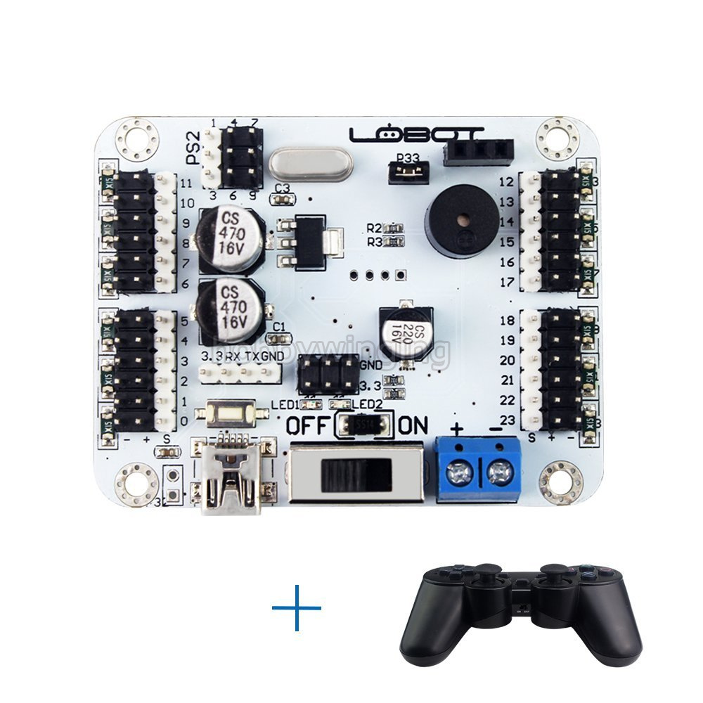 24CH Digital Servo Controller with Wireless Handle Robot Control Board Over Current Protection Compatible with Arduino