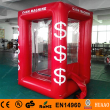 Free Shipping 0.6mm PVC Sealed Airtight Inflatable Cash Machine Cube with 2 CE Blowers