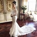 Gorgeous Mermaid Wedding Dress With Long Sleeves 2017 3D Flowers Appliques Lace Bridal Gowns Vestido De Noiva Court Train