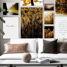 Autumn Scenery Golden Leaves Forest Lake Wall Art Canvas Painting Nordic Posters And Prints Pictures For Living Room Decor