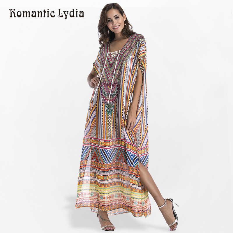 c9b87ad8f52 Для женщин Летнее для пляжа в богемном стиле кафтан платье богемный  Цветочный Принт Свободные Разделение Винтаж