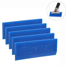 FOSHIO 5pcs BLUEMAX Rubber Spare Blade for Handle Squeegee Vinyl Car Foil Wrap Window Tint Tool Water Wiper Cleaning Ice Scraper