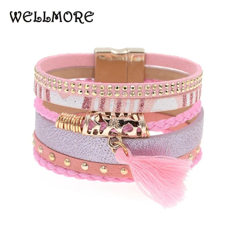 2016 summer pink leather bracelet Brazilian bracelet magnet buckle  Bohemian bracelets boho bracelets & bangles B1560