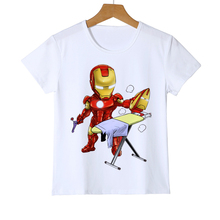 Funny 3D Printing Iron Man Cartoon Boy Girl T-Shirt Avengers iron man Kid T shirt suprehero teen short sleeve tee Y8-9