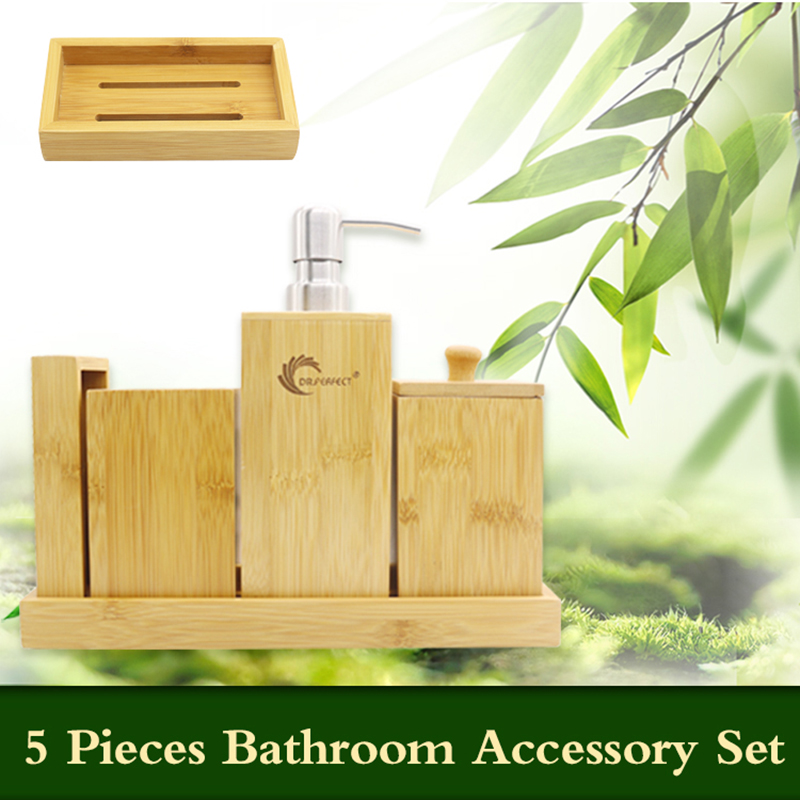 DR.PERFECT Bamboo Bathroom Accessories Set Bamboo Refillable Bottles,  Lotion Dispenser ,Soap Plate