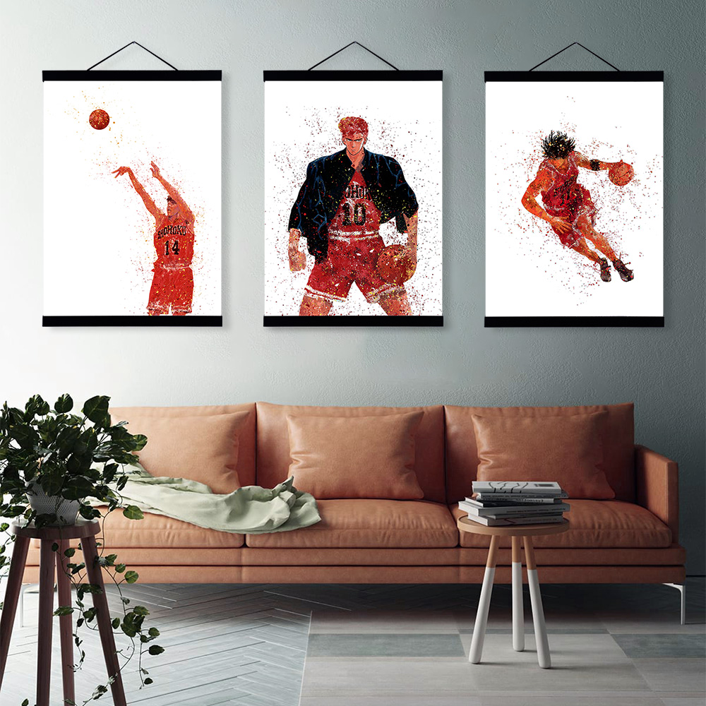Us 8 36 47 Off Watercolor Japanese Anime Slam Dunk Basketball Wooden Framed Painting Modern Scroll Wall Art Pictures Home Decor Canvas Poster In
