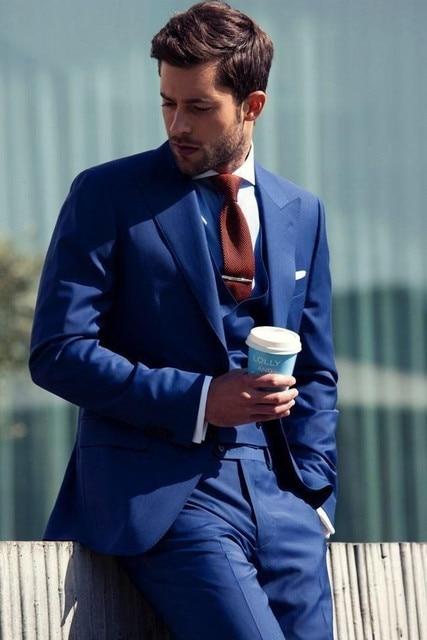 New Custom Made Formal Men Business Suits Men Wedding Suits Slim Fit Blue Wen Suits Groom Tuxedos Jacket+Pants