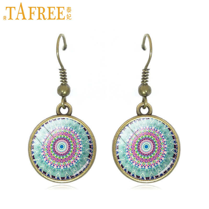 TAFREE Hippie Mandala Drop Earrings Pompom Bohemian Paisley  Meditation dangle earrings art picture glass round jewelry A448