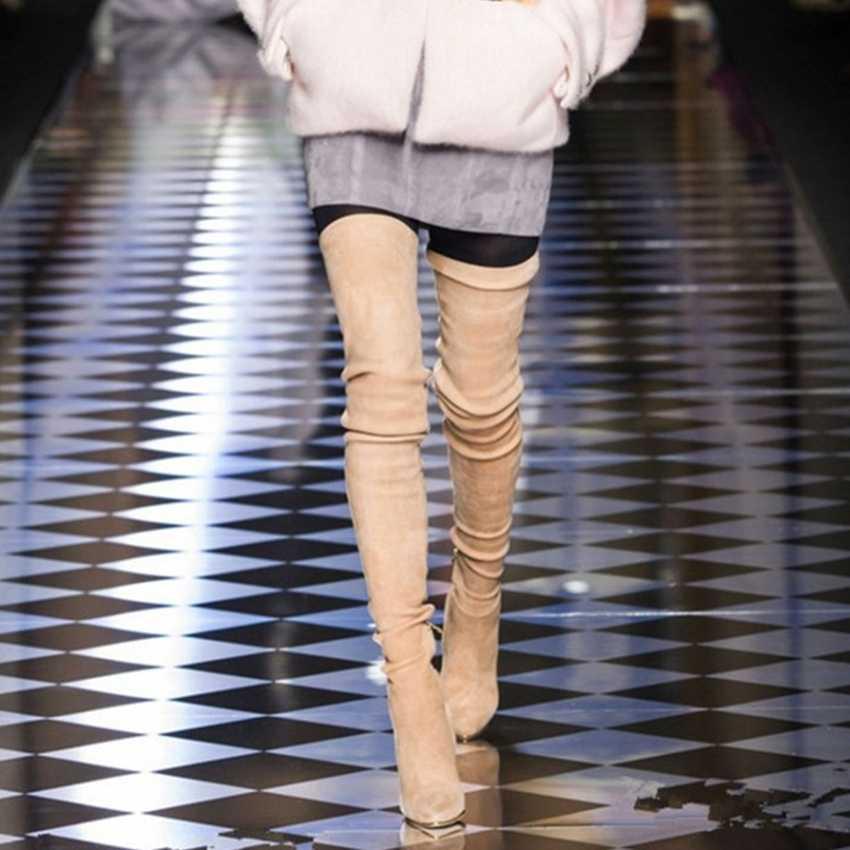 10,5 CM tacones altos sobre la rodilla botas mujer estiramiento largo calcetín botas mujer moto botas mujer gamuza cuero zapato zapatos de invierno