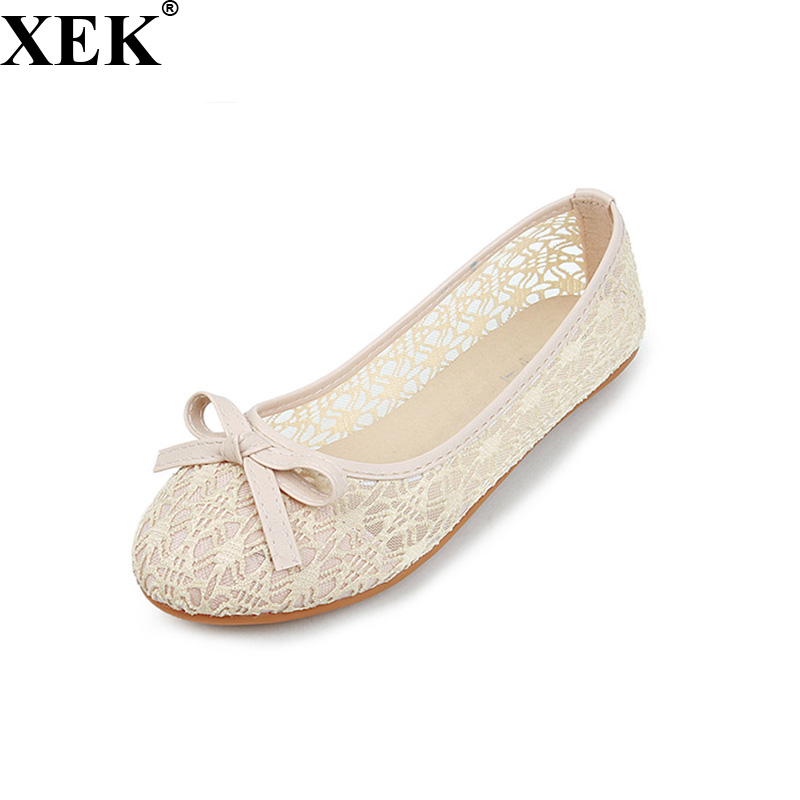 XEK 2018 New Women Flat Summer Lace Shallow Mouth Shoes Woman Breathable Sandals Lace Mesh Ballet Flats Cute Clogs Shoes JH187 instantarts flat shoes women breathable cute cartoon elephant sneakers footwear female casual lace up air mesh flats woman shoes