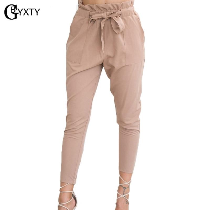 GBYXTY Fashion Harm   Pants   2019 Spring Summer Bow   Pants     capris   for Woman High Waist Office   pants   Trouser pantalon femme ZA012