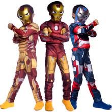 Classic Superhero Avengers Iron Man Thor Costume Boys Muscle Jumpsuit Book Week Children's Day Party Fancy Dress new arrival child boys the avengers superhero muscle thor costume