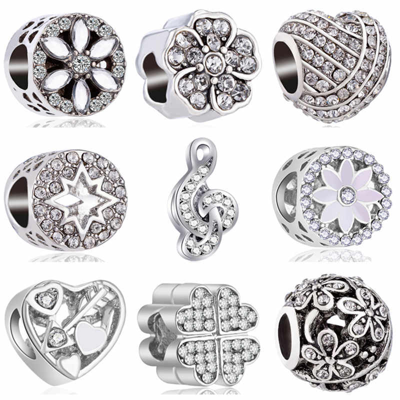 Fresh Style Silver Color Hollow Arrow Star Note Heart Crystal Flower Pandora Charms Beads Fit Original Bracelets for Women Gifts