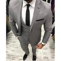 New Grey Men Suit Slim Fit Three Pieces Wedding Tuxedo Mens Suits Custom Made Beat Wedding Suits (Jacket+Pant+Vest)