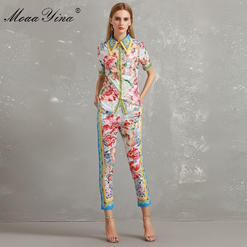 Kadın Giyim'ten Kadın Setleri'de MoaaYina Moda Tasarımcısı Seti Sonbahar Kadın Kısa kollu Turn down Yaka Çiçek Baskı Boncuk Zarif Gömlek + 3/4 kalem pantolon seti'da  Grup 1
