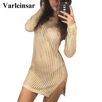2020 Sheer See Through Sexy Knitted Crochet Tunic Beach Cover Up Cover-ups Beach Dress Beach Wear Beachwear Female Women V96