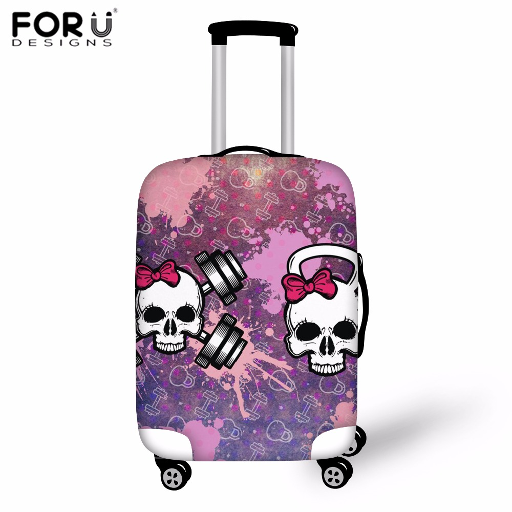 FORUDESIGNS Cover for Suitcase Cool Skull Print Luggage Protective Covers Suit Thick 18-30 Inch Storage Bag Case Dust Cover 2018