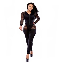 c205d4f6b163a Fishnet Hollow Out Sexy Jumpsuits For Women Front Zipper Long Sleeve One  Piece Overall Casual Black