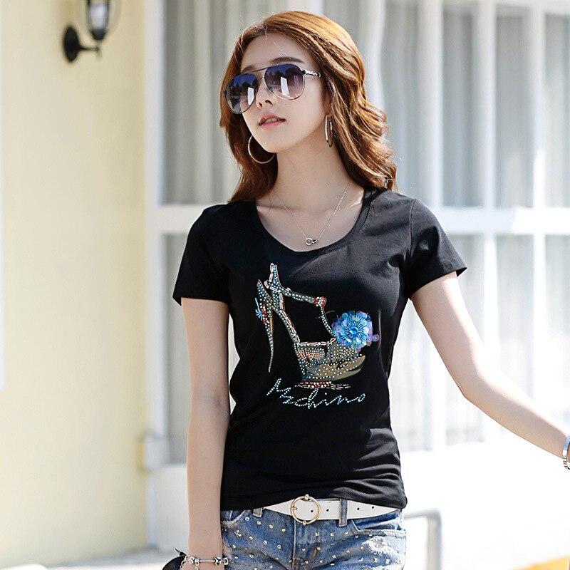 2017 Lato Moda Damska Czarna Koszulka Handmade Wzór Szczupła Bawełna 3D T Shirt dla Kobiet z butów na wysokim obcasie LOGO 2809
